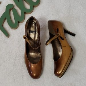 STUART WEITZMAN brown patent ombre mary janes